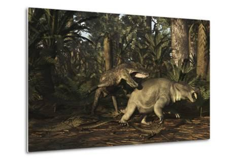 Postosuchus Attacking a Dicynodont in a Triassic Forest-Stocktrek Images-Metal Print