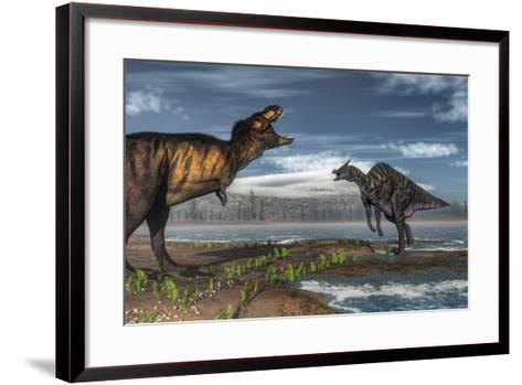 Battle Between Tyrannosaurus Rex and Saurolophus-Stocktrek Images-Framed Art Print