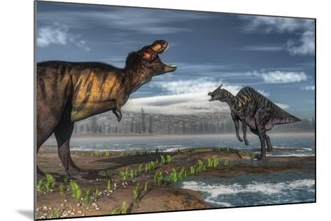 Battle Between Tyrannosaurus Rex and Saurolophus-Stocktrek Images-Mounted Art Print