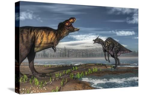 Battle Between Tyrannosaurus Rex and Saurolophus-Stocktrek Images-Stretched Canvas Print