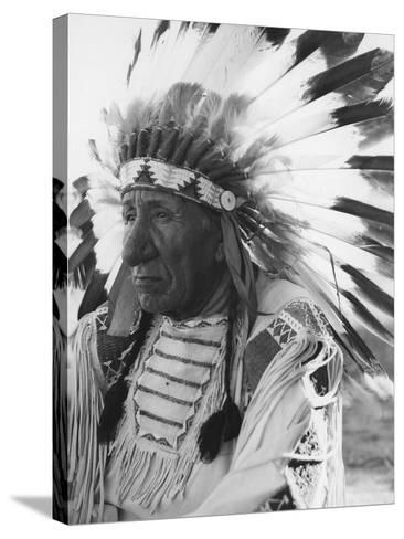 Portrait of Chief Red Cloud in Headdress-Stocktrek Images-Stretched Canvas Print