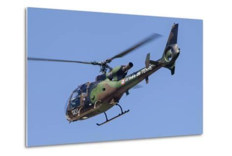 French Army Gazelle Helicopter in Flight over France-Stocktrek Images-Metal Print