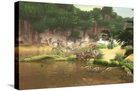Dinosaurs Grazing Along a Cretaceous River-Stocktrek Images-Stretched Canvas Print