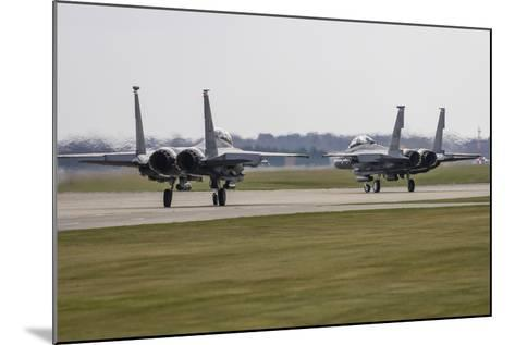 F-15E Strike Eagles of the U.S. Air Force Line Up for Takeoff-Stocktrek Images-Mounted Photographic Print
