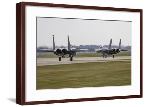 F-15E Strike Eagles of the U.S. Air Force Line Up for Takeoff-Stocktrek Images-Framed Art Print