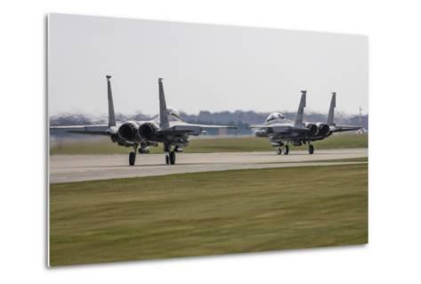 F-15E Strike Eagles of the U.S. Air Force Line Up for Takeoff-Stocktrek Images-Metal Print