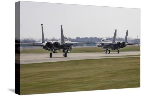 F-15E Strike Eagles of the U.S. Air Force Line Up for Takeoff-Stocktrek Images-Stretched Canvas Print