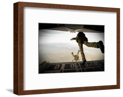 U.S. Army Green Berets Jump Out of a C-130H3 Hercules over Florida-Stocktrek Images-Framed Art Print