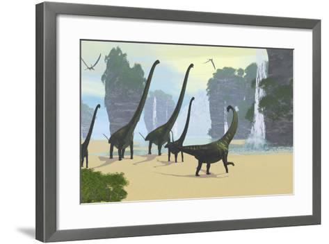 A Mamenchisaurus Dinosaur Herd Grazing Along a Lake-Stocktrek Images-Framed Art Print