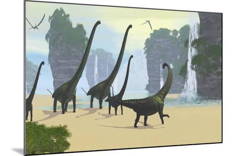 A Mamenchisaurus Dinosaur Herd Grazing Along a Lake-Stocktrek Images-Mounted Art Print