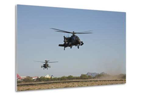 A Pair of Ah-64D Apache Longbow Helicopters Taking Off-Stocktrek Images-Metal Print