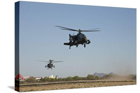 A Pair of Ah-64D Apache Longbow Helicopters Taking Off-Stocktrek Images-Stretched Canvas Print
