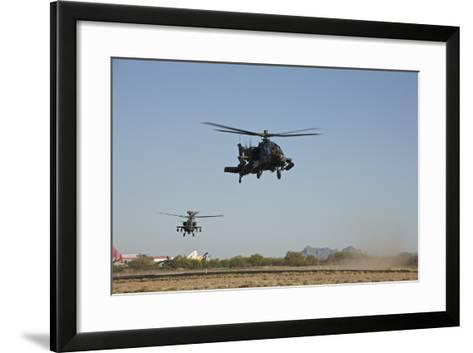 A Pair of Ah-64D Apache Longbow Helicopters Taking Off-Stocktrek Images-Framed Art Print