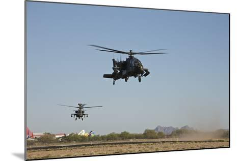 A Pair of Ah-64D Apache Longbow Helicopters Taking Off-Stocktrek Images-Mounted Photographic Print