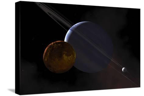 A Ringed Gas Giant Exoplanet with Moons-Stocktrek Images-Stretched Canvas Print