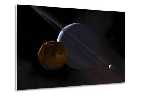 A Ringed Gas Giant Exoplanet with Moons-Stocktrek Images-Metal Print