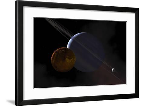 A Ringed Gas Giant Exoplanet with Moons-Stocktrek Images-Framed Art Print