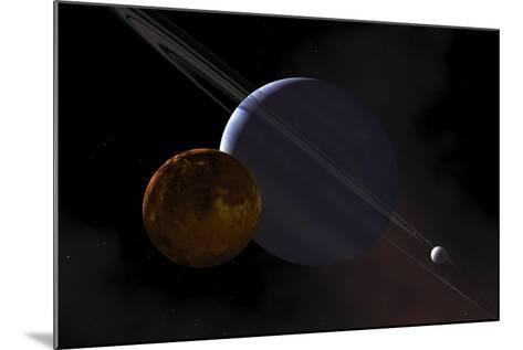 A Ringed Gas Giant Exoplanet with Moons-Stocktrek Images-Mounted Art Print