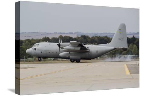 A C-130E Hercules of the Swedish Air Force Landing in Ostrava, Czech Republic-Stocktrek Images-Stretched Canvas Print