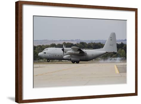 A C-130E Hercules of the Swedish Air Force Landing in Ostrava, Czech Republic-Stocktrek Images-Framed Art Print