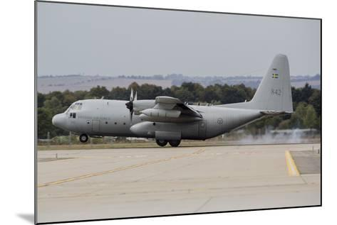 A C-130E Hercules of the Swedish Air Force Landing in Ostrava, Czech Republic-Stocktrek Images-Mounted Photographic Print