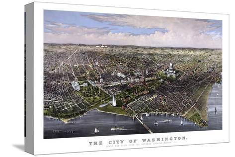 Vintage Print of Washington D.C-Stocktrek Images-Stretched Canvas Print