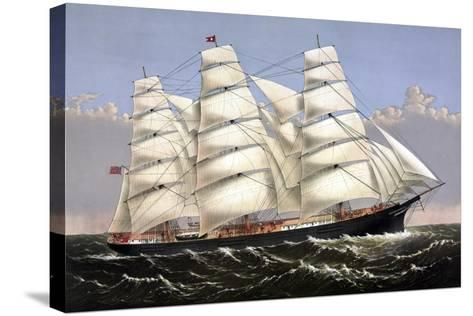 Vintage Print of the Clipper Ship Three Brothers-Stocktrek Images-Stretched Canvas Print
