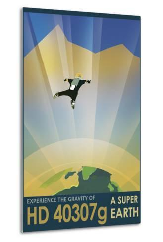 Experience the Gravity of a Super Earth in This Retro Space Poster--Metal Print