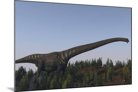 A Large Mamenchisaurus Walking Along a Dry Riverbed-Stocktrek Images-Mounted Art Print
