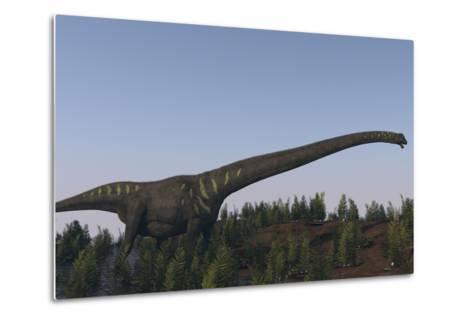 A Large Mamenchisaurus Walking Along a Dry Riverbed-Stocktrek Images-Metal Print