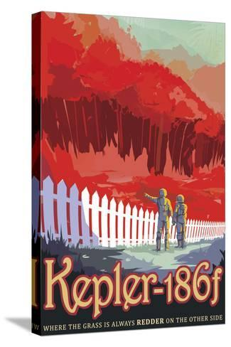 Retro Space Poster of Kepler-186F--Stretched Canvas Print