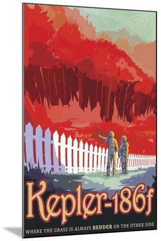 Retro Space Poster of Kepler-186F--Mounted Art Print
