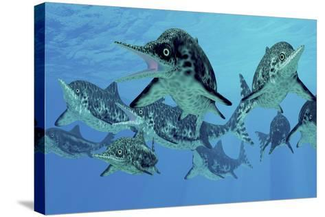 A Group of Ichthyosaurs Swimming in Prehistoric Waters-Stocktrek Images-Stretched Canvas Print