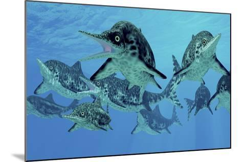 A Group of Ichthyosaurs Swimming in Prehistoric Waters-Stocktrek Images-Mounted Art Print