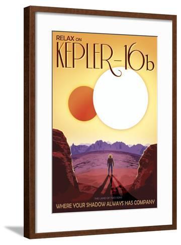 Kepler-16B Orbits a Pair of Stars in This Retro Space Poster--Framed Art Print