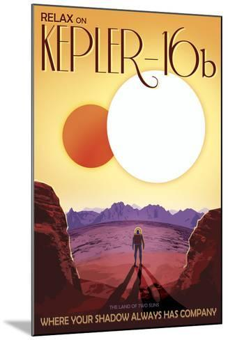 Kepler-16B Orbits a Pair of Stars in This Retro Space Poster--Mounted Art Print