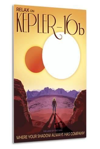 Kepler-16B Orbits a Pair of Stars in This Retro Space Poster--Metal Print