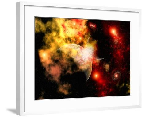 A Rough Planet Crashing into Another Planet-Stocktrek Images-Framed Art Print