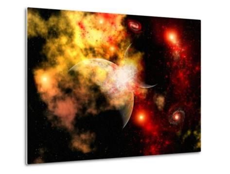 A Rough Planet Crashing into Another Planet-Stocktrek Images-Metal Print