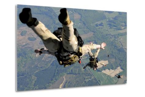 Navy Seals Jump from the Ramp of a C-17 Globemaster Iii over Virginia-Stocktrek Images-Metal Print