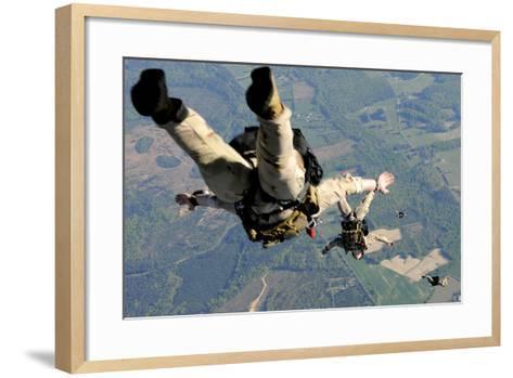 Navy Seals Jump from the Ramp of a C-17 Globemaster Iii over Virginia-Stocktrek Images-Framed Art Print