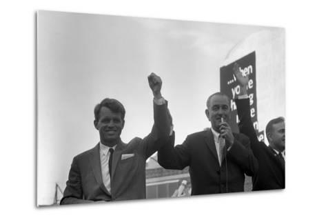 President Lyndon Johnson Campaigning with Robert Kennedy-Stocktrek Images-Metal Print