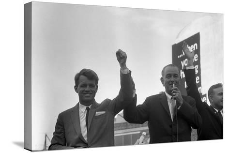 President Lyndon Johnson Campaigning with Robert Kennedy-Stocktrek Images-Stretched Canvas Print
