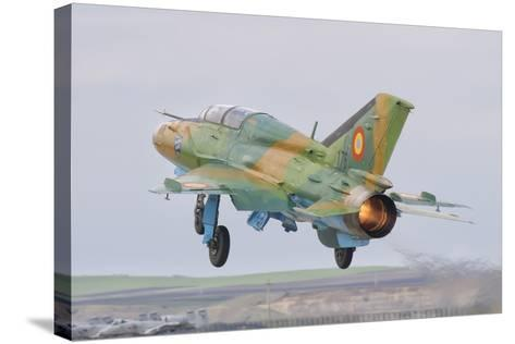A Romanian Air Force Mig-21B Taking Off from Camp Turzii Air Base, Romania-Stocktrek Images-Stretched Canvas Print