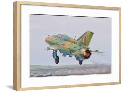 A Romanian Air Force Mig-21B Taking Off from Camp Turzii Air Base, Romania-Stocktrek Images-Framed Art Print