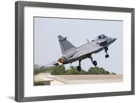 A Jas-39 Gripen of the Swedish Air Force Taking Off-Stocktrek Images-Framed Art Print