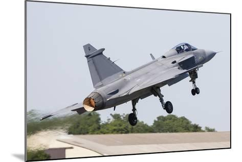 A Jas-39 Gripen of the Swedish Air Force Taking Off-Stocktrek Images-Mounted Photographic Print
