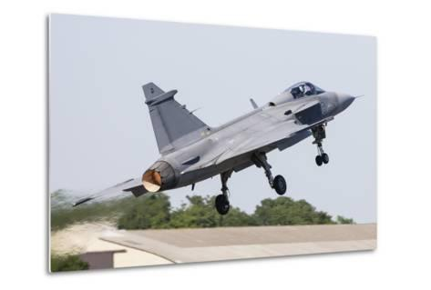 A Jas-39 Gripen of the Swedish Air Force Taking Off-Stocktrek Images-Metal Print
