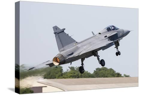 A Jas-39 Gripen of the Swedish Air Force Taking Off-Stocktrek Images-Stretched Canvas Print