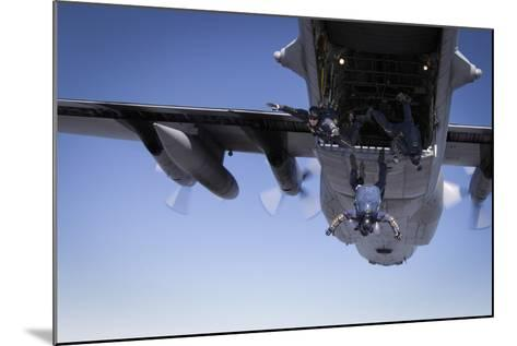 U.S. Navy Parachute Team, the Leap Frogs, Jump from a C-130 Hercules-Stocktrek Images-Mounted Photographic Print